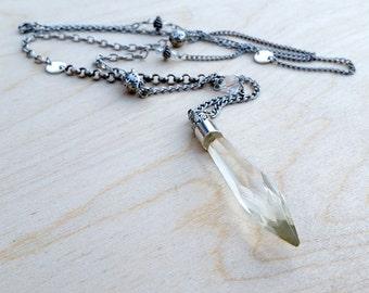 Elsa's Souvenir- Vintage Chandelier Glass Spliced Chain Pendant Necklace