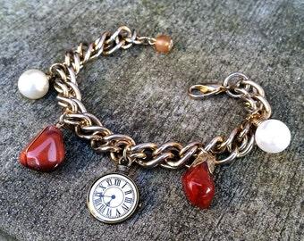 Twilight Time- Gemstone & Faux Pearl Vintage Charm Bracelet