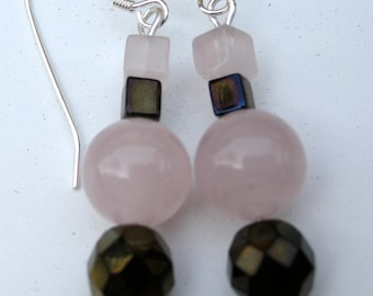 """Drop earring, """"Rose"""", rose quartz and glass beads on silver wire"""