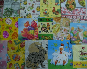 30 Themed  Easter,Chickens, Rabbits Paper napkins .Surprise package of supplies.