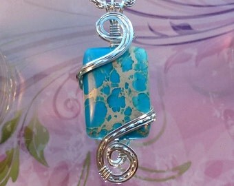 Blue Turquoise Jasper Womans Pendant Necklace Wire Wrapped Jewelry Handmade in Silver with Free Shipping