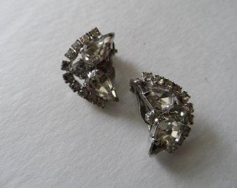 Vintage Rhinestone Clip on Earrings Bridal Prom Evening Wear Mid Century 1950's