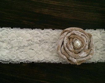 Burlap and Lace Headband or Garter
