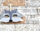 Grey Wolf Mask for Pretend Play