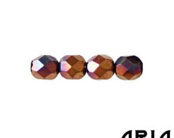 JET BRONZE VEGA: 6mm Faceted Round Firepolish Czech Glass Beads (25 beads per strand)