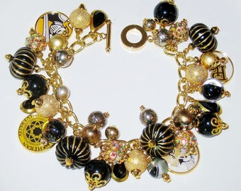PLU,  Pacific Lutheran University, Lutes,  Black and Gold Handcrafted Charm Bracelet