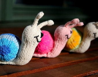 Snail knitting pattern for beginners and advanced knitters, spring gift and decoration, easter, gift for kids and adults