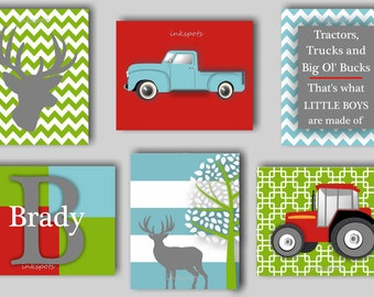 Childrens Art, Woodland Nursery, Transportation Nursery, Deer Print, Deer Nursery, Tractor Nursery, Farm Nursery, Choose Colors TRAC01