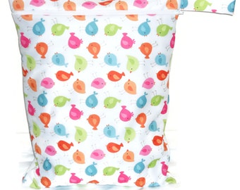 Wet bag for cloth diaper - Little Bird Pattern