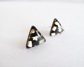 Black Gold Triangle Stud Earrings - Hypoallergenic Surgical Steel Posts