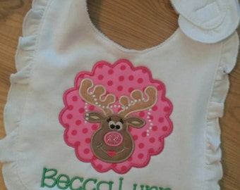 Girly Reindeer Personalized Bib