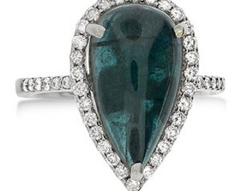 MJ 14k Cabuchon Aquamarine Diamond ring