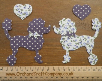 Iron on fabric Applique Posh Paws POODLE DOGS X 2 with Hearts Floral/Dotty