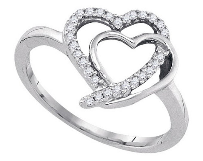 Double Heart Diamond Sterling Silver Ring ~ Great Gift ~ Free Shipping
