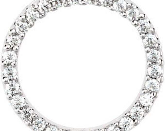 Stunning 1ct Diamond Eternity Circle Pendant ~ 14k White Gold