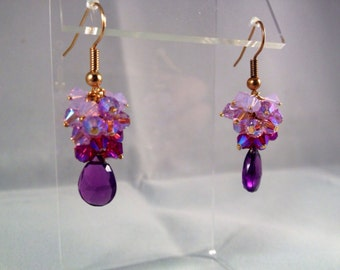 Amethyst ombré crystal earrings