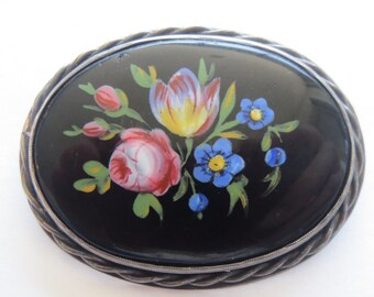 Vintage Sterling Silver  Flower Floral Enamel Brooch Pin
