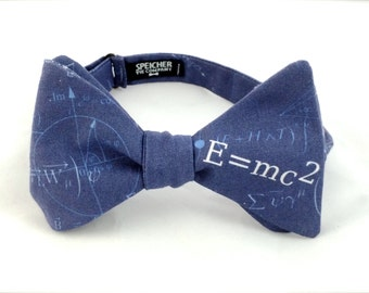 Einstein Physics Blue Bow Tie - bowtie, bow ties, bowties, math, science, geek, geeky chic, nerd, fun, cool, awesome, science, scientist