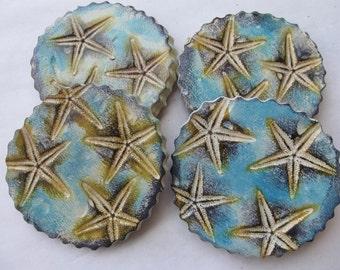 Starfish Ceramic Coffee & Tea Coasters Beach Coastal Decor (Set of 4)