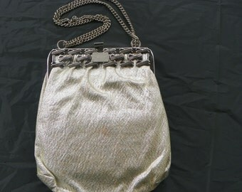 Vintage Silver Lame Evening Bag with Silver Chain Strap