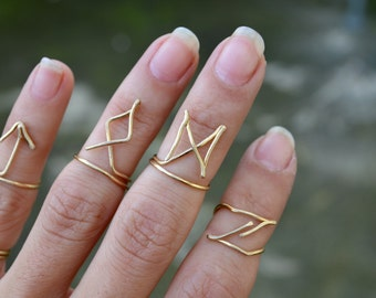 Gold Wire Wrapped Wire Ring Above Knuckle Rune Ring