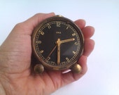 Wind Up Travel Alarm Clock Oris Swiss Made Vintage Small Wind Up Metal Clock Collectible Shabby Chic Old Metal Clock Tiny Clock Travel Clock