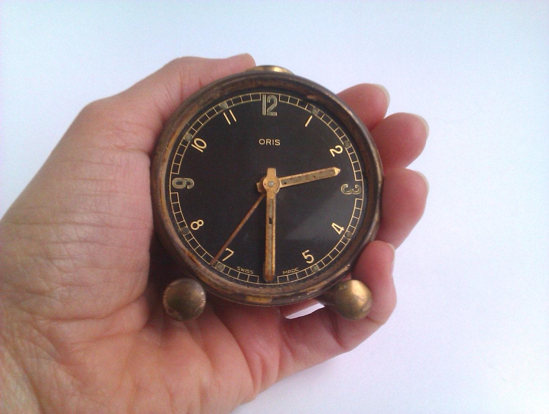 Wind Up Travel Alarm Clock Oris Swiss Made Vintage by AlMercatino
