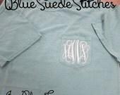 Comfort Color Monogrammed Pocket T-Shirt- Short Sleeve  Great for Graduation Gifts, Birthdays, College,Greeks, Sororites