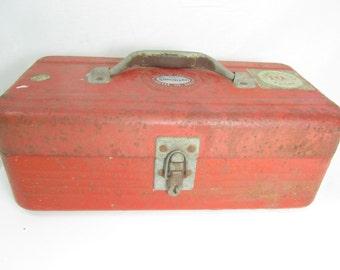 Vintage metal tackle box, Red metal box, Fishing box, Tool Box, Simonsen, Chicago Illinois, 60651