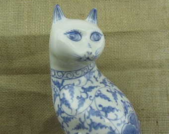 Cat figurine, blue and white, porcelain cat, home decor, farmhouse decor,animal figurine