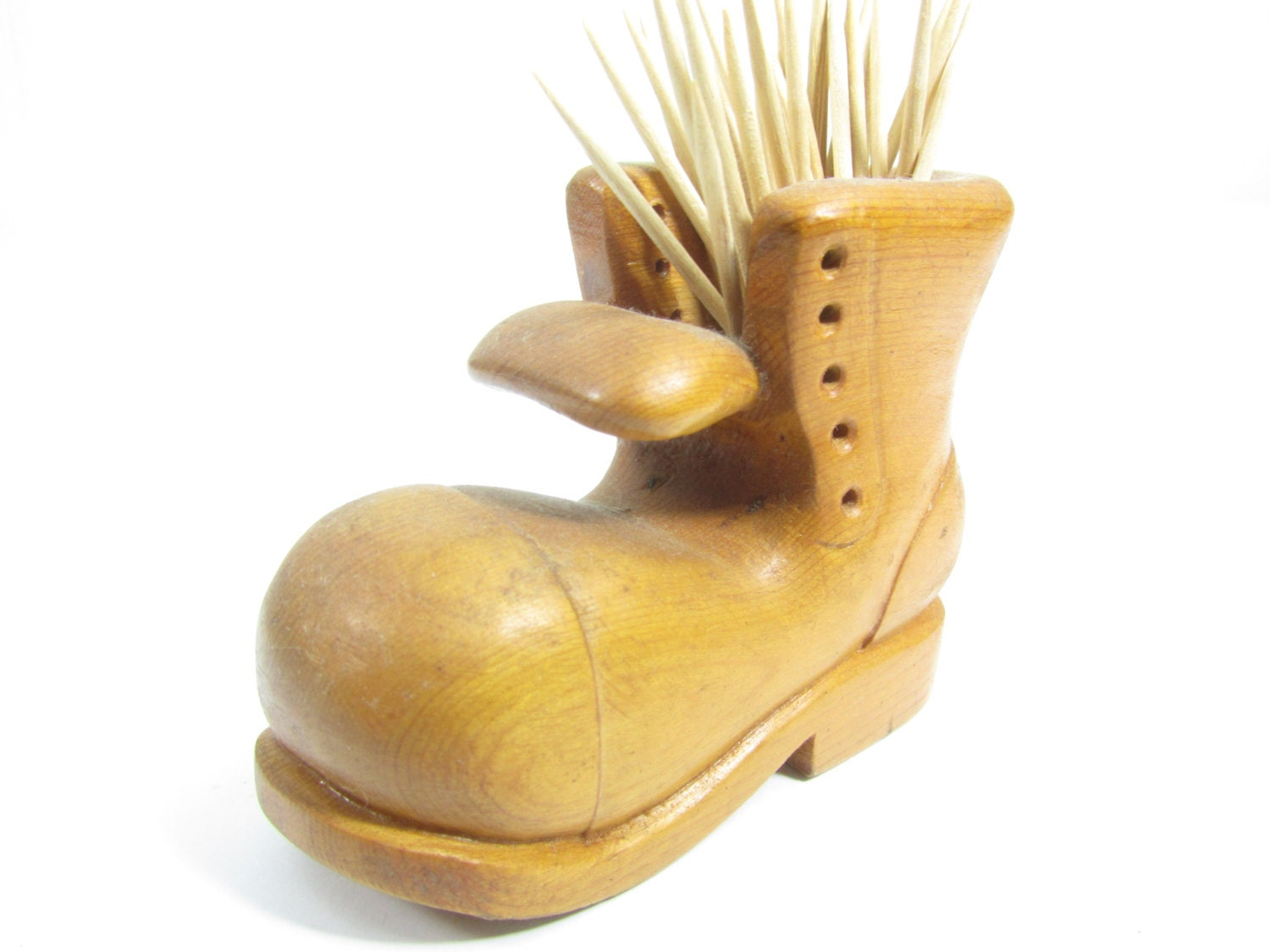 Toothpick holder boot wooden bootwood shoeprimitive wood - Wooden pocket toothpick holder ...