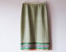 Pure Silk Maxi Skirt Light Green Floral Ditsy Print Summer Skirt Size Medium