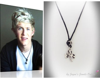 Shamrock Necklace, Niall Horan wears one similar, Silver Shamrock, Lucky Clover Necklace, Irish Shamrock