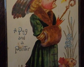 """Antique Postcard """" A pug and A Pointer"""" Comic postcard.embossed1900""""s"""