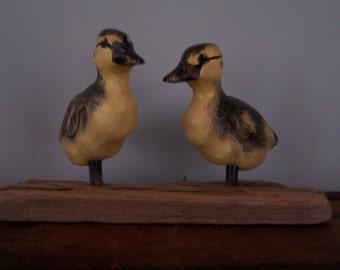 folk art carved painted mallard duckling pair