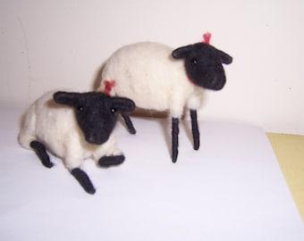 felted wool sheep pair