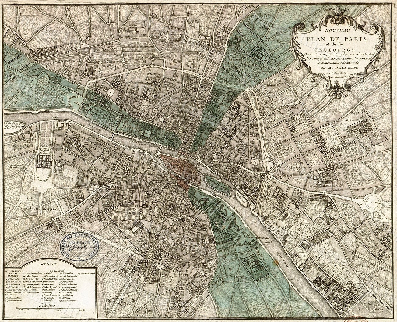 Giant Historic PARIS Map  Old Map Of Paris Antique - New york map restoration hardware