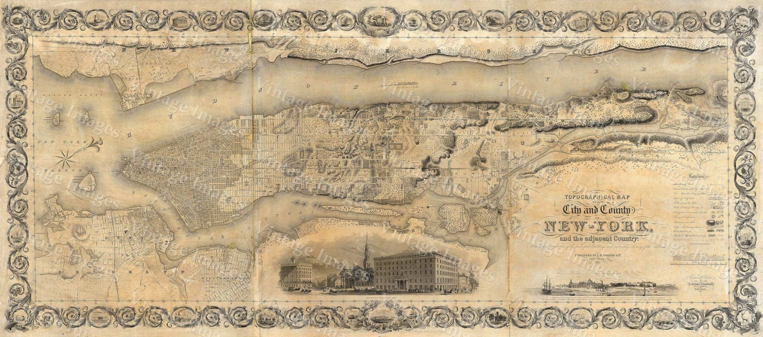 Giant Vintage New York City Map Old Antique Restoration Hardware - New york map restoration hardware