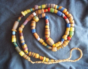 African glass bead/hemp necklace FREE SHIPPING