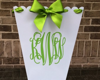 Personalized Scalloped Metal Trash Can