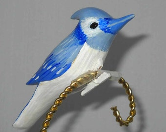 Blue Jay Christmas Ornament, Hand Carved Wooden Clip-on, CCO-52