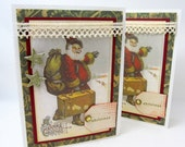 Joyful Christmas Card - Vintage Christmas - Santa Claus - Old-Fashioned Christmas - Blank Card - Holiday Card - Red and Green