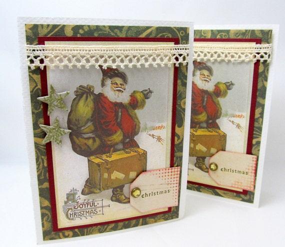 Joyful Christmas Card - Vintage Christmas - Santa Claus - Old-Fashioned Christmas - Blank Card - Holiday Card - Red and Green