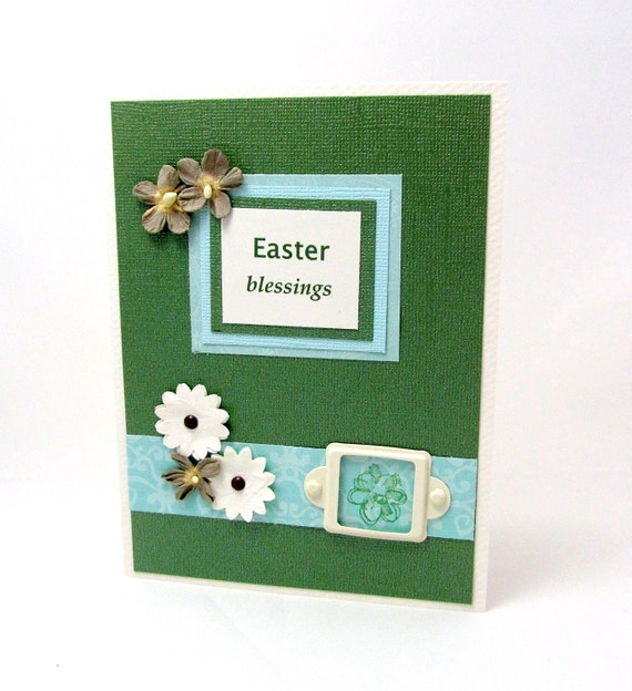 Easter Card - Easter Blessings - Green and Turquoise - Shabby Chic Flowers - Ivory Accents - Blank Card