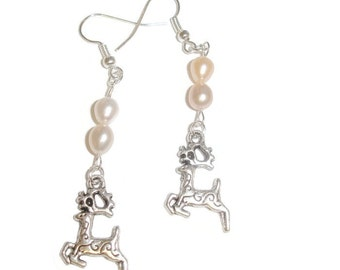 Reindeer pearl earrings