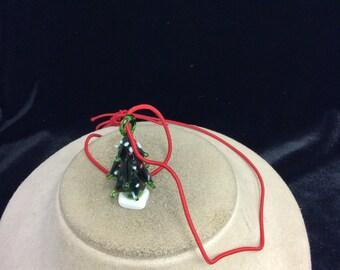 Vintage Glass Christmas Tree Pendant Necklace