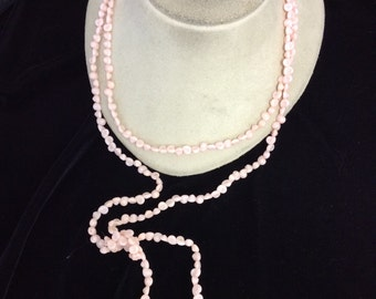 Vintage Long Pale Pink Glass beaded Necklace