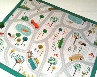 Made to order Road Trip Chalk Mat // Chalk Roll // Blackboard Placemat // Colouring Mat