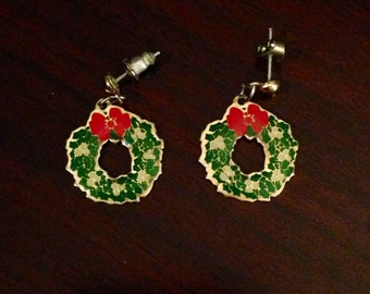 30% DISCOUNT SALE Vintage Christmas Wreath Earrings (#2)
