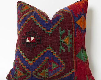 Traditional Handwoven Vintage Turkish Kilim Pillow Cover - Decorative Pillows, Accent Pillows, Throw Pillow 16x16 Couch Pillow Sofa Pillow